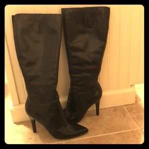 Nine West knee high stiletto boots (black)